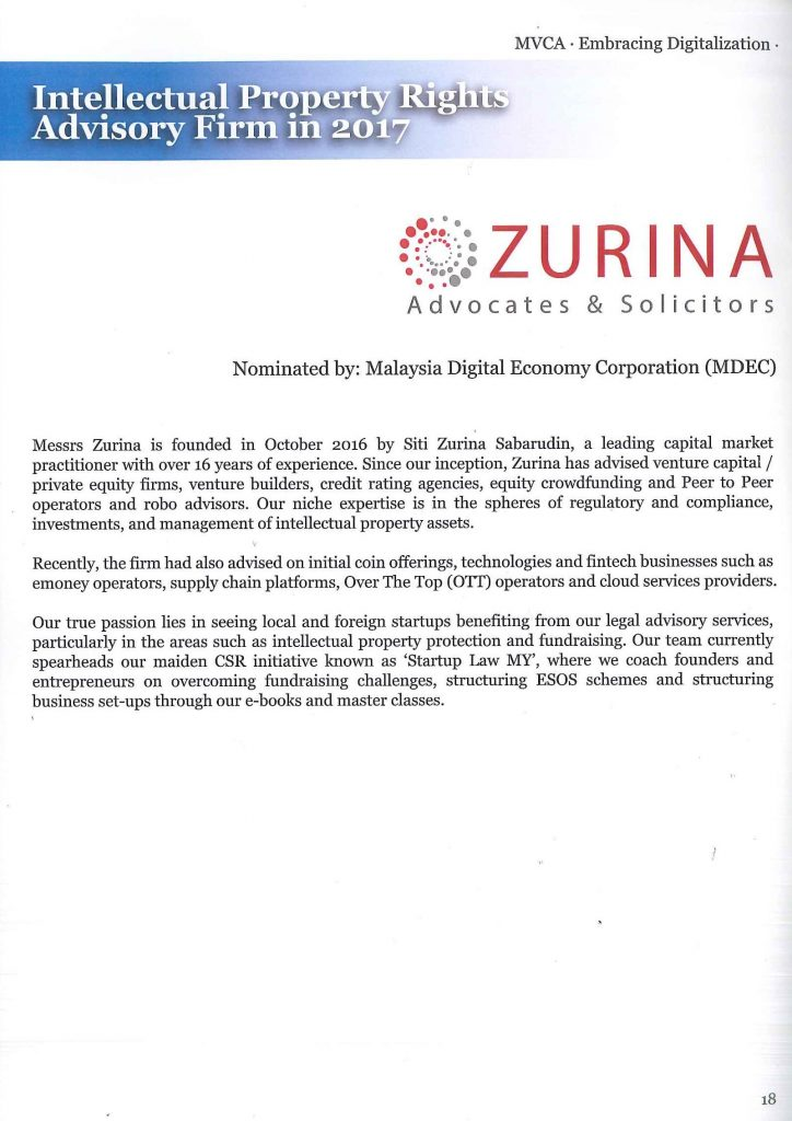 Zurinalaw wins 'Intellectual Property Rights Advisory Firm
